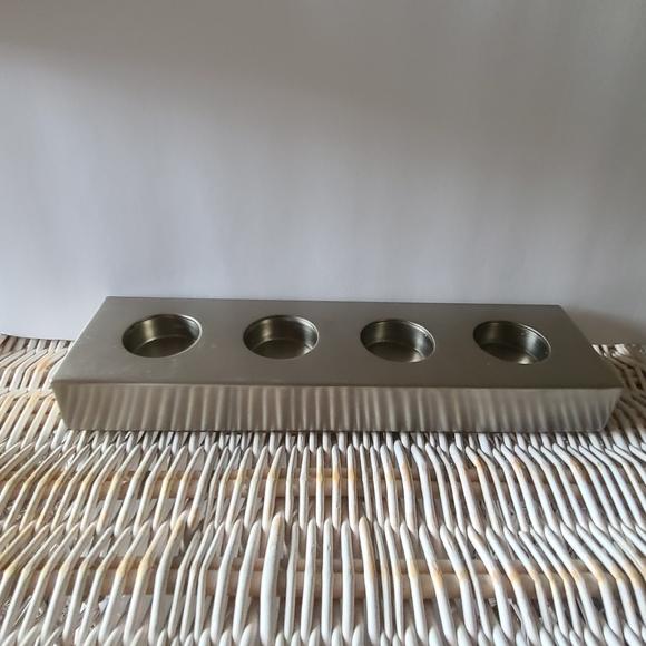 Pottery Barn Silvertoned tealight holder